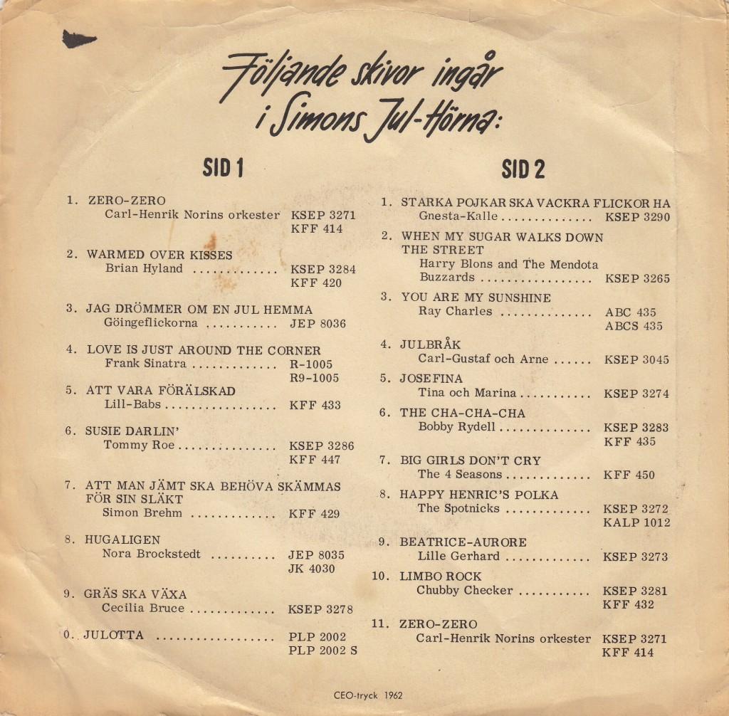 SPOTNICKS - SIMONS JULHOERNA 1962 KJJP 5 B
